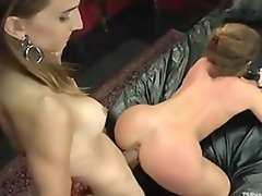 Horny shemale babe hard fucks female prostitute in the ass