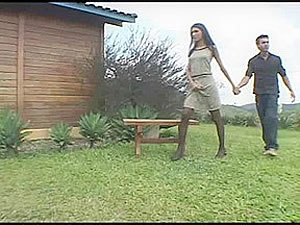 Horny TS Bruna fucks dude outdoors